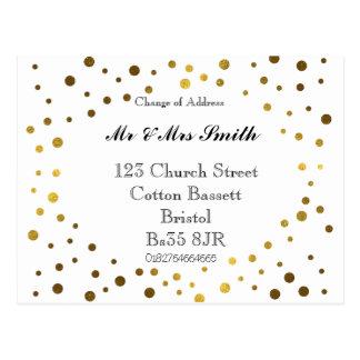 Mudança de pontos do ouro de endereço cartão postal