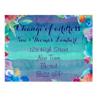 Mudança do cartão da água-cor de endereço cartão postal