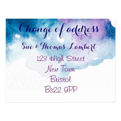 Mudança do cartão da água-cor de endereço cartoes postais