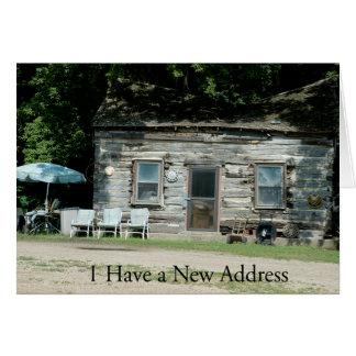 Mudança do cartão de endereço: Cabana rústica de