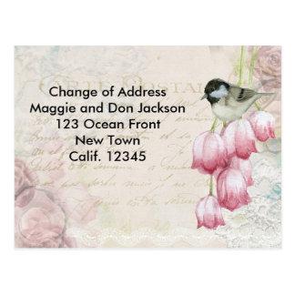 Mudança do cartão de endereço cartão postal