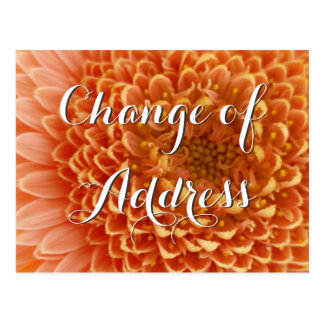 Mudança do cartão de endereço com fotografia da cartão postal