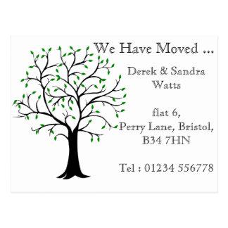 Mudança do cartão de endereço nós movemos a árvore cartão postal