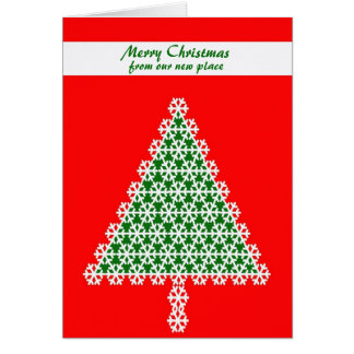 Mudança do cartão de Natal de endereço, árvore de