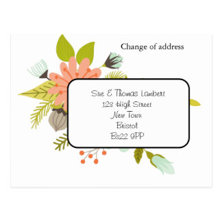 mudança do cartão floral de endereço