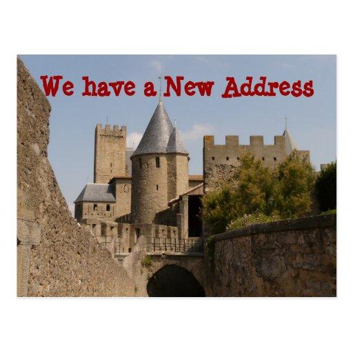 Mudança do castelo de endereço nós movemos cartão cartoes postais