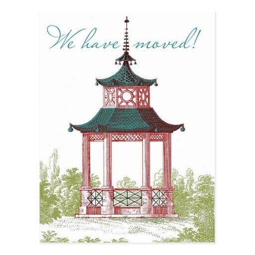 Mudança do pagode de cartões de endereço cartões postais