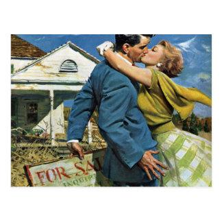 Mudança do vintage de endereço, amor e romance cartão postal