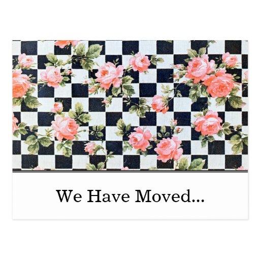 Mudança dos rosas do vintage do cartão de endereço cartão postal