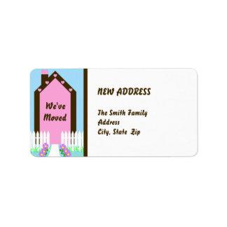 Mudança nova de etiqueta movente de endereço etiqueta de endereço