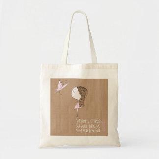 """""""Mudança"""" - saco da menina & da borboleta Sacola Tote Budget"""