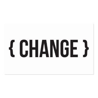 Mudança - suportada - preto e branco cartão de visita