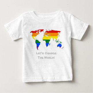 Mude o t-shirt do orgulho gay do mundo camiseta para bebê