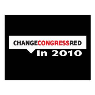 Mude o vermelho do congresso em 2010 cartão postal