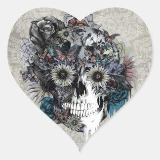 Mudo, crânio do girassol adesivo coração