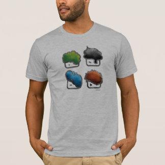 Muitas caras do molde tshirt