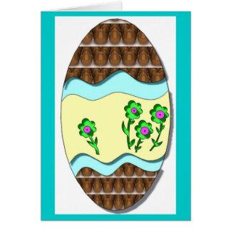 Muito cartão do ovo da páscoa do chocolate com flo