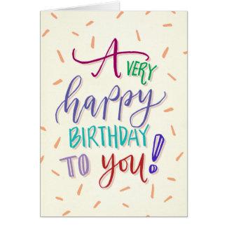 Muito feliz aniversário um cartão