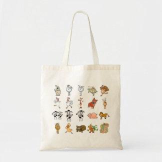 Muitos animais diferentes dos desenhos animados em bolsa tote