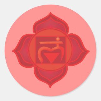 Muladhara ou etiqueta redonda clássica de Chakra