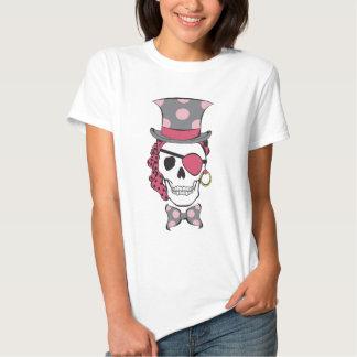 Mulberry do crânio do pirata do noivo camisetas