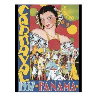 Mulher 1937 de Panamá Carnaval do vintage Cartao Postal