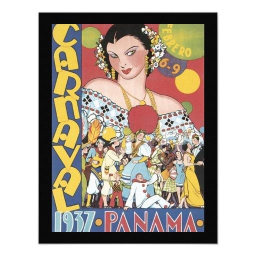 Mulher 1937 de Panamá Carnaval do vintage Convites Personalizado