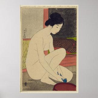 Mulher após o banho - reprodução japonesa da arte  pôster