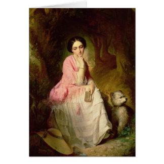 Mulher assentada em um glade da floresta cartão comemorativo
