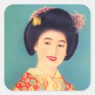 Mulher bonita japonesa da gueixa das mulheres do adesivo quadrado