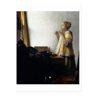 Mulher com a colar da pérola por Johannes Vermeer Cartão Postal
