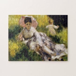 Mulher com belas artes de Renoir do parasol Quebra-cabeça