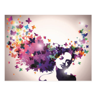 Mulher com borboletas cartão postal