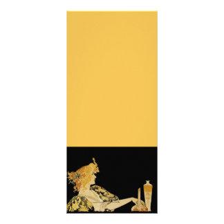 Mulher com escova de pintura 10.16 x 22.86cm panfleto