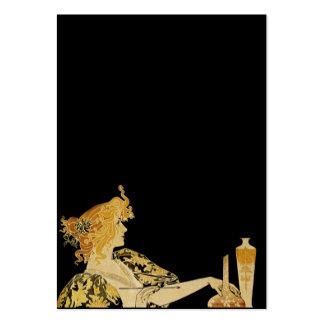 Mulher com escova de pintura cartões de visita