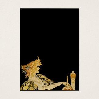 Mulher com escova de pintura cartão de visitas