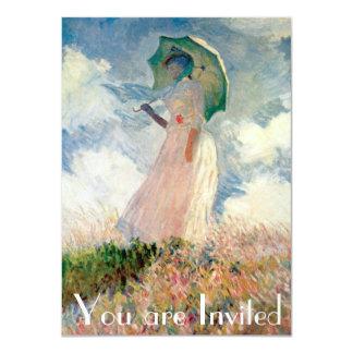 Mulher com passeio Monet do parasol Convite Personalizado