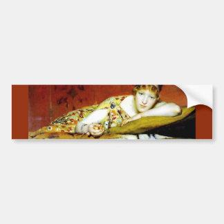 Mulher com pintura da pele do tigre adesivos
