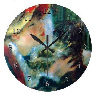 Mulher com suas belas artes de Renoir do cão Relógio Grande
