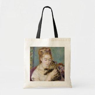 Mulher com um gato, c.1875 (óleo em canvas) 2 sacola tote budget