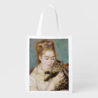 Mulher com um gato, c.1875 (óleo em canvas) 2 sacola ecológica para supermercado