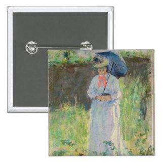 Mulher com um parasol (pastel no papel) bóton quadrado 5.08cm