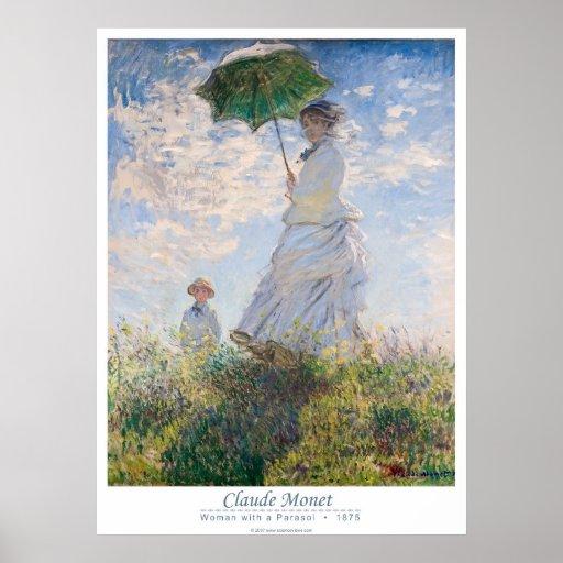 Mulher com um parasol - senhora Monet e seu filho Pôsteres