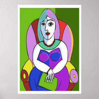Mulher com uma tabuleta pôster