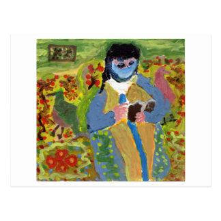 Mulher com véu azul, leitura, cartão