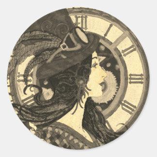 Mulher da etiqueta do Sepia de Steampunk com pulso