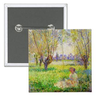Mulher de Monet assentada sob as belas artes dos Bóton Quadrado 5.08cm