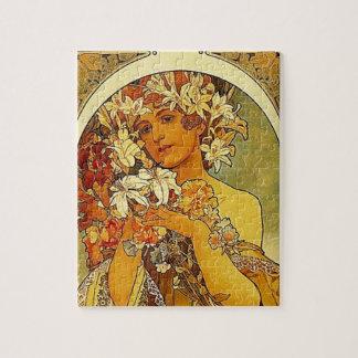 Mulher de Nouveau da arte de Mucha com lírios Quebra-cabeça