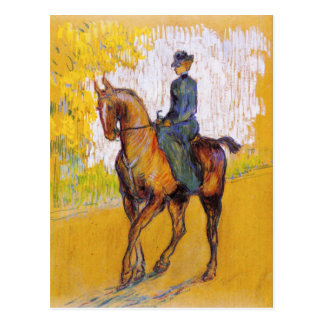 Mulher de Toulouse-Lautrec no cartão do cavalo