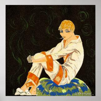 Mulher do art deco do vintage, fumando por S.